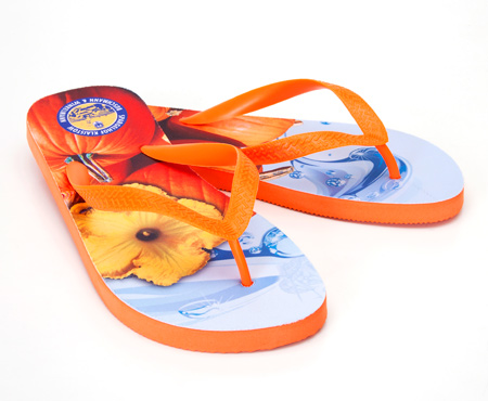 Custom flip flops with photo print